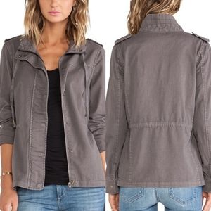 Revolve   Velvet Gray Cotton Twill Shirt Jacket S